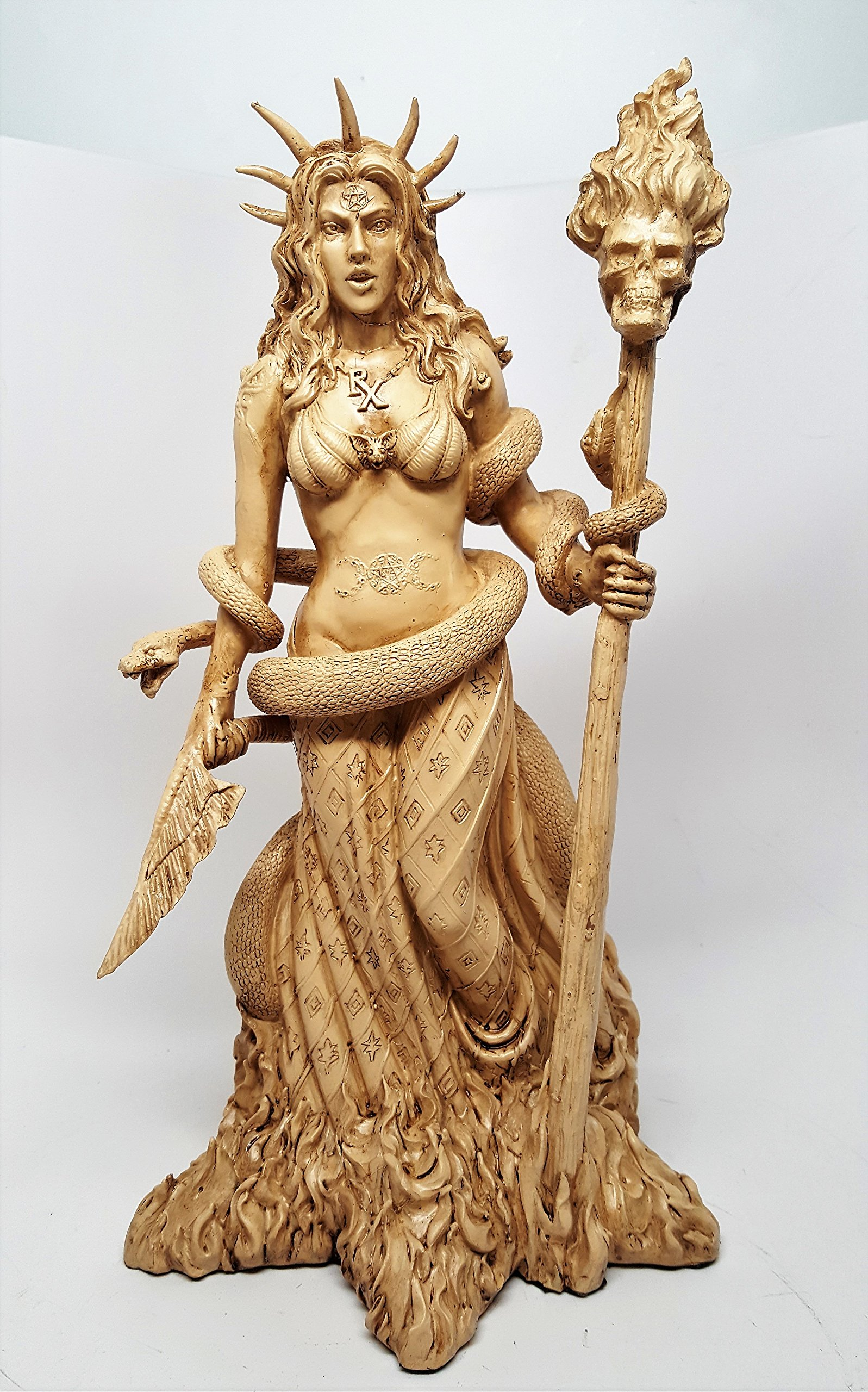 Greek Goddess White Sorceress Witchcraft Hecate Figurine Hekate Necromancy Deity Magic Powerful Pagan Witch Statue by Pacific Trading