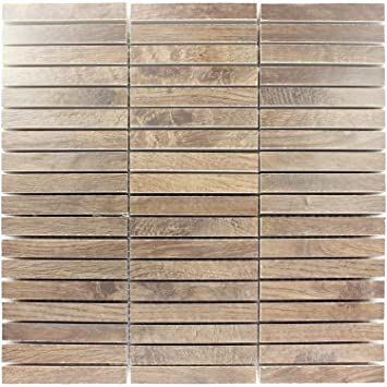 Mosaikfliesen Loures Holzoptik Braun | Wandfliesen | Mosaik Fliesen |  Glas Mosaik | Fliesen