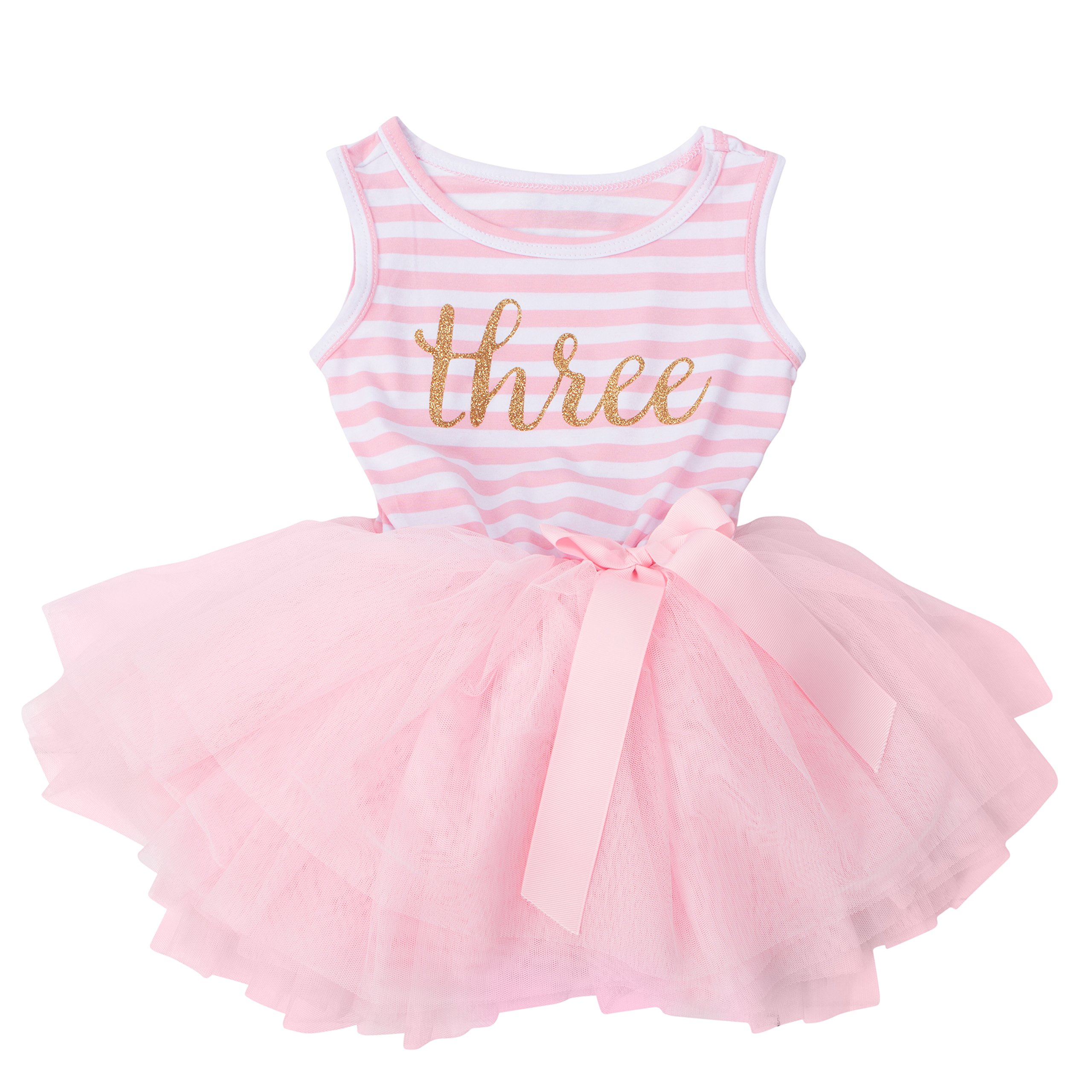 Grace & Lucille Toddler Birthday Dress (3rd Birthday) (Pink Striped Sleeveless, Gold, 3T)