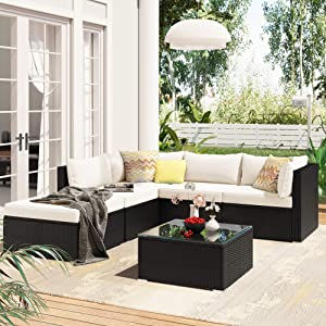 Recaceik 6 Pieces Outdoor Furniture Patio Rattan, PE Wicker Chairs Sectional Sofa Couch Conversation Sets, Beige Cushion