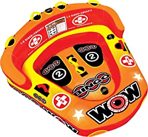 WOW World of Watersports Bingo Inflatable Towable Tube, Secure Cockpit Seating Towable, Front and Back Tow Points