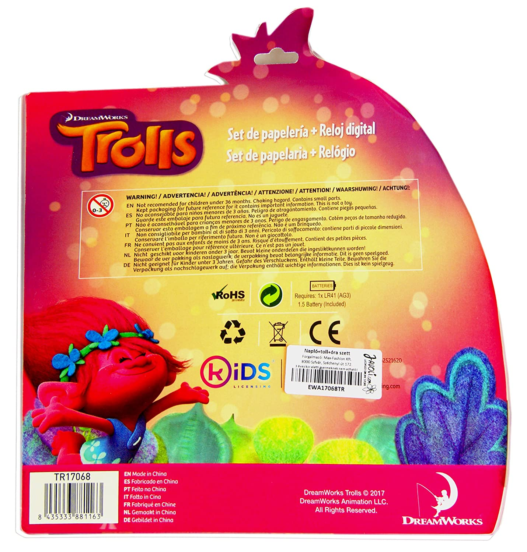 Amazon.com: Trolls Set(Digital Watch + Lock Notebook +Multi Colour Pen)  Official Licensed .: Toys & Games
