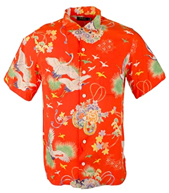 0098ef5ac5 Polo Ralph Lauren Men s Hawaiian Crane Print Short Sleeve Camp Shirt-O-XXL