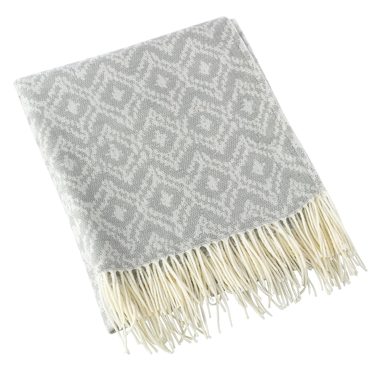 50x60 Grey SARO LIFESTYLE TH503.GY5060 Sevan Collection Jacquard Design Throw Blanket