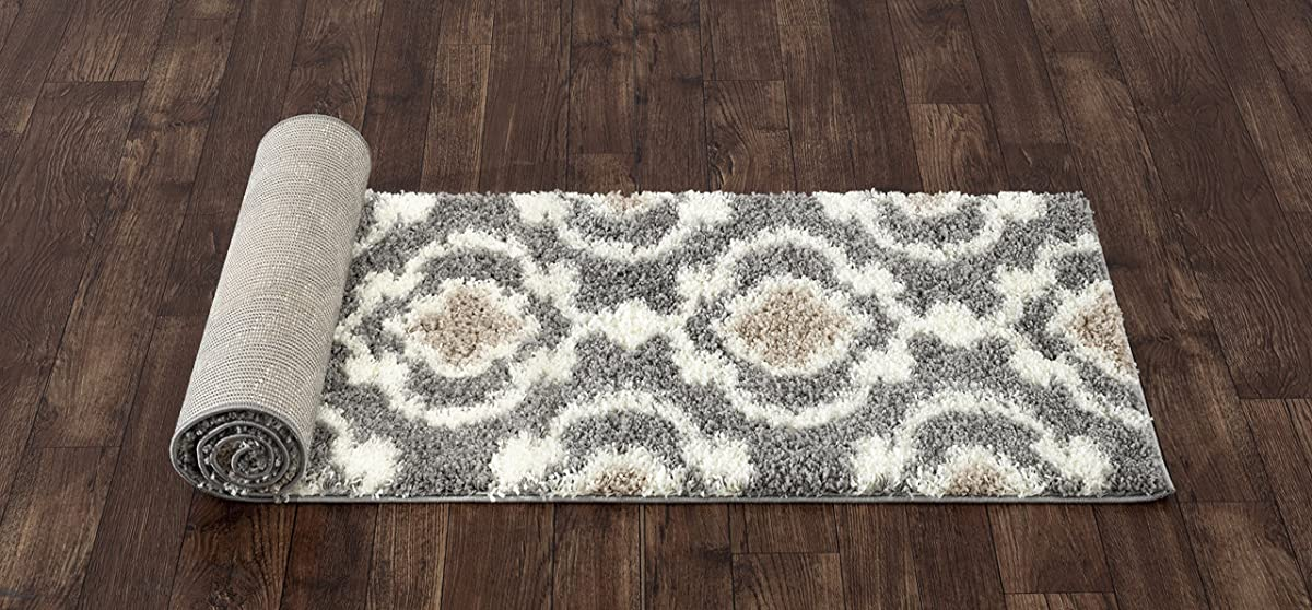 "Cozy Moroccan Trellis Indoor Shag Runner Rug 2 x 72"" Gray/Cream"