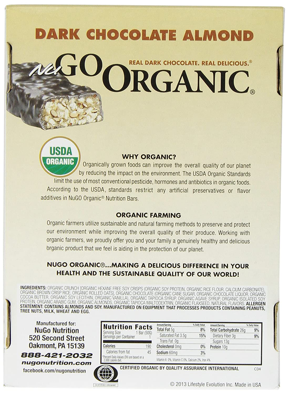 Amazon.com: NuGo Organic Nutrition Bar, Dark Chocolate Almond ...