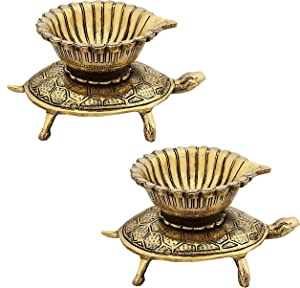 Indian Diwali Oil Lamp Pooja Diya Brass Light Puja Decorations Mandir Decoration Items Handmade Home Backdrop Decor Lamps Made in India Decorative Wicks Akhand Diyas Fortune Tortoise Turtle Pair- Gold