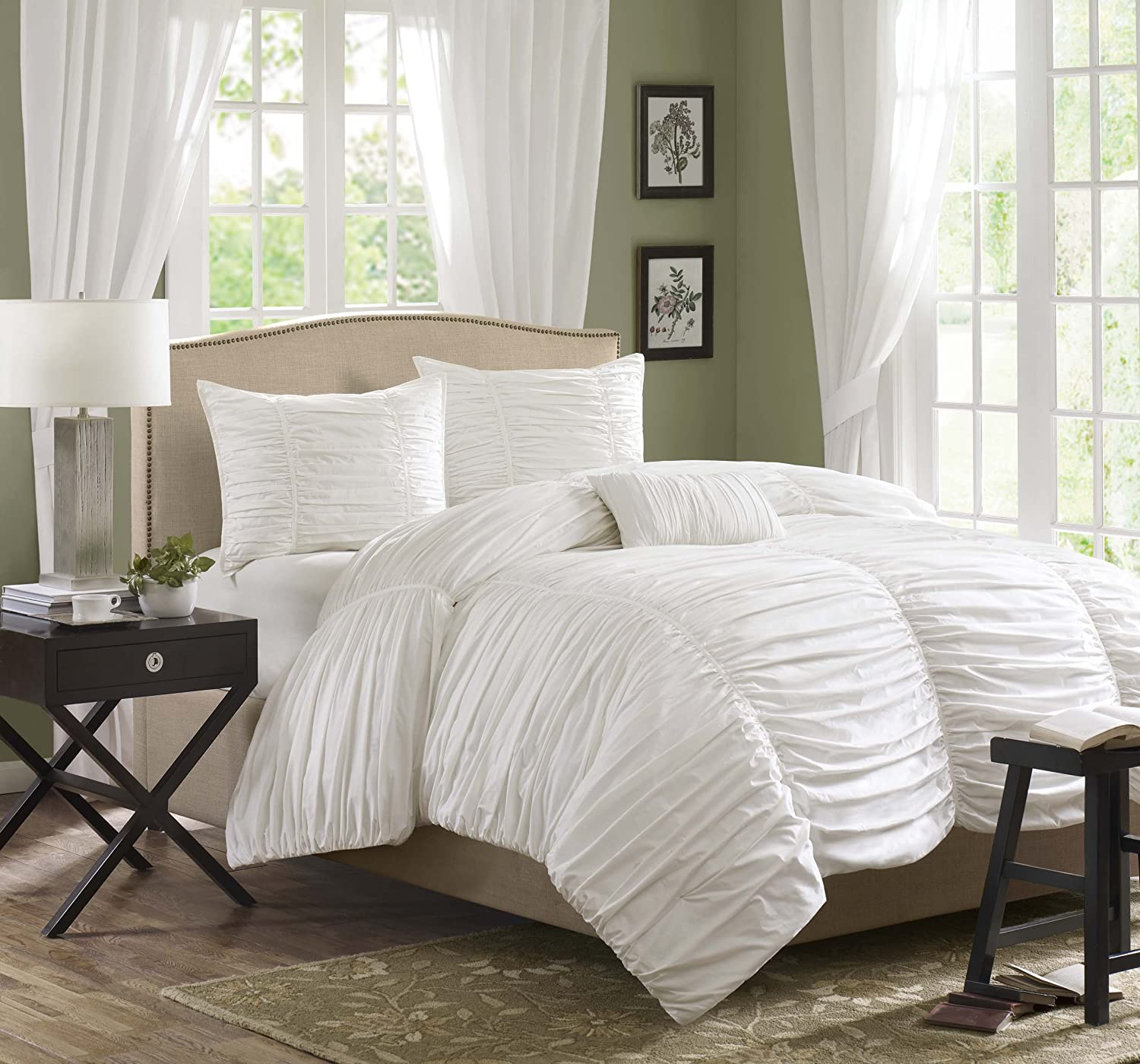 Madison Park Delancey Queen Size Bed Comforter Set - White, Ruched Pleating  – 4 Pieces Bedding Sets – 100% Cotton Percale Bedroom Comforters
