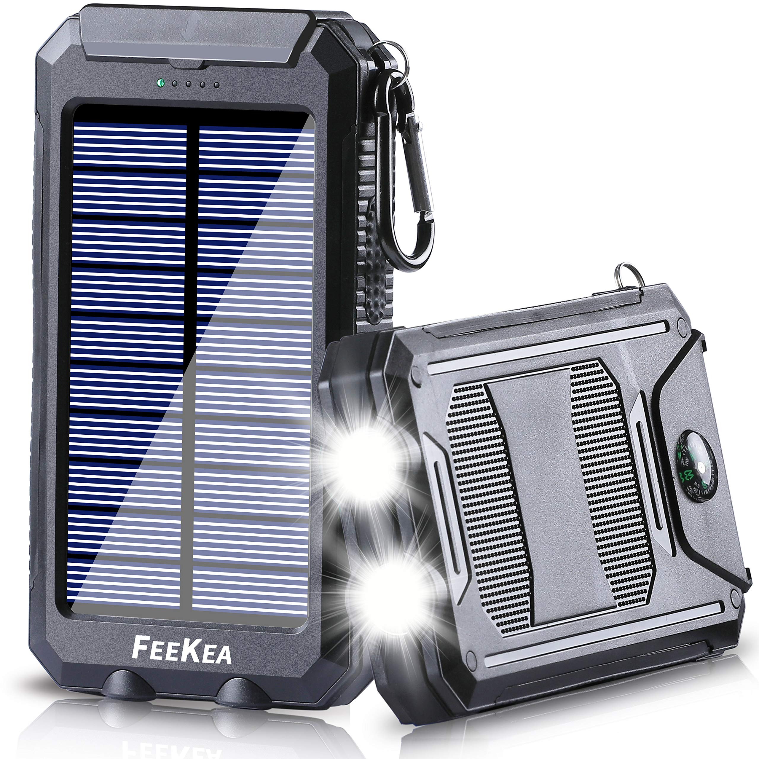 Solar Power Bank, 20000mAh Portable Solar Phone Charger External Battery Pack with Dual USB 5V 1A/2.1A Output Ports and LED Lights, Outdoor Solar Battery Charger with Compass for Cellphone and More by Feekea