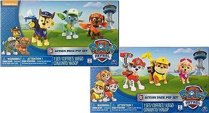 Amazon Com Nickelodeon Paw Patrol Action Pack Pups Bundle 3 Pk Figure Set Chase Rocky Zuma And 3pk Figure Set Marshall Skye Rubble Toys Games