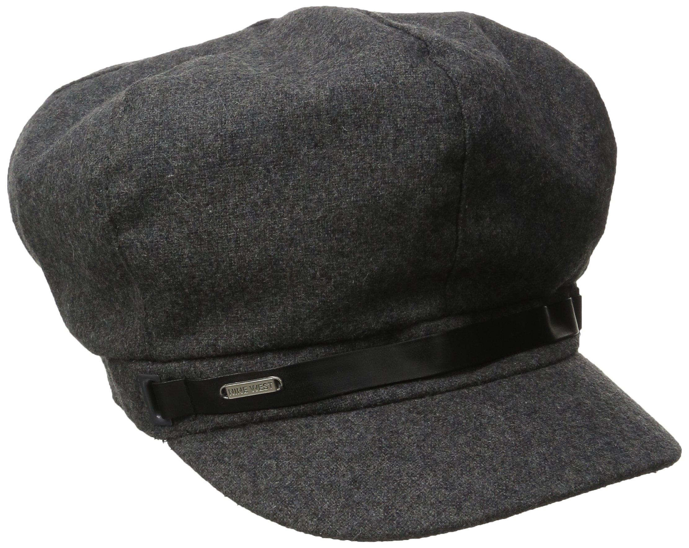 Nine West Women's Wool Blend Newsboy Hat, Charcoal/Grey, One Size