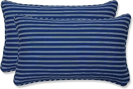Pillow Perfect Outdoor Indoor Resort Stripe Lumbar Pillows 11 5 X 18 5 Blue 2 Pack Home Kitchen
