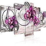 Quadro 200x100 cm ! Tre colori da scegliere - 5 Parti - Grande Formato - Quadro su tela fliselina - Stampa in qualita fotografica - fiori 020110-147 200x100 cm B&D XXL