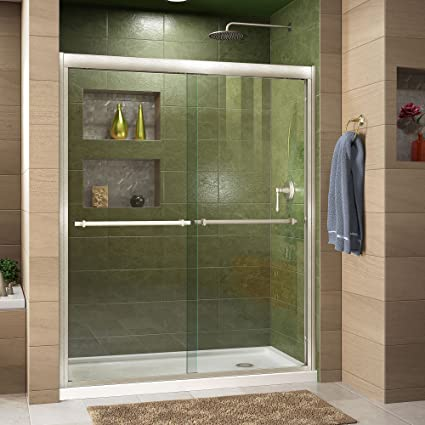 DreamLine Duet 34 in. D x 60 in. W Semi-Frameless Bypass Shower Door ...