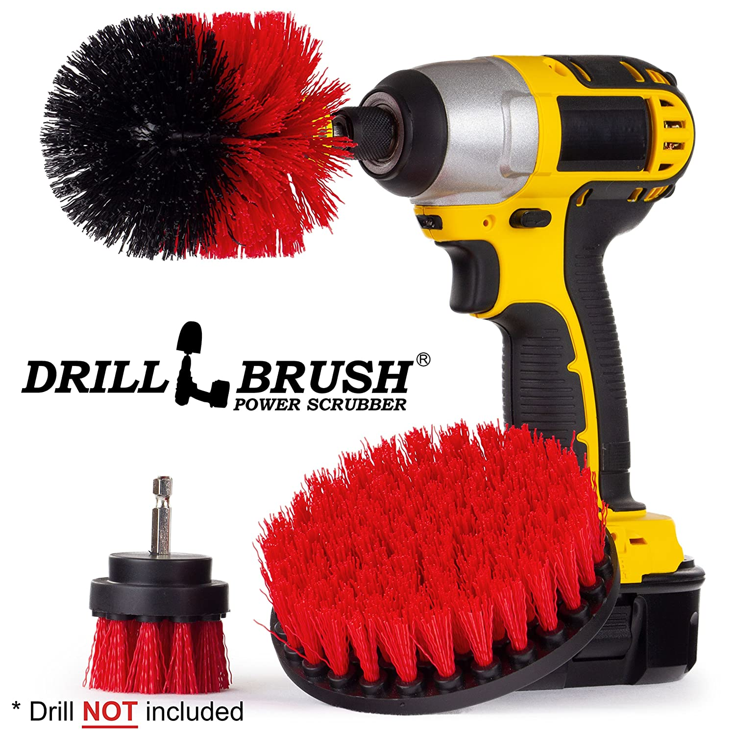 Drillbrush Electric Spin Scrubber Brush Kit for Bathroom Tub and Shower. Easy Tile Grout Cleaner Tool - Includes Three Different Size Replaceable Scrubber Brush Heads Y-S-52O-QC-DB
