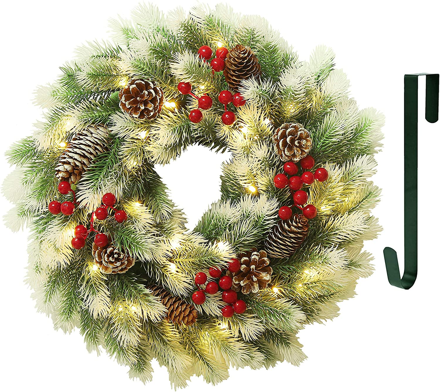 Juegoal 16 Inch Pre-Lit Christmas Wreath with Metal Hanger, Light Up Mountain Fir Pine Needle Wreath with Warm White 40 LED Lights, Indoor/Outdoor, Front Door Spruce Lighted Wreath X-max Decorations