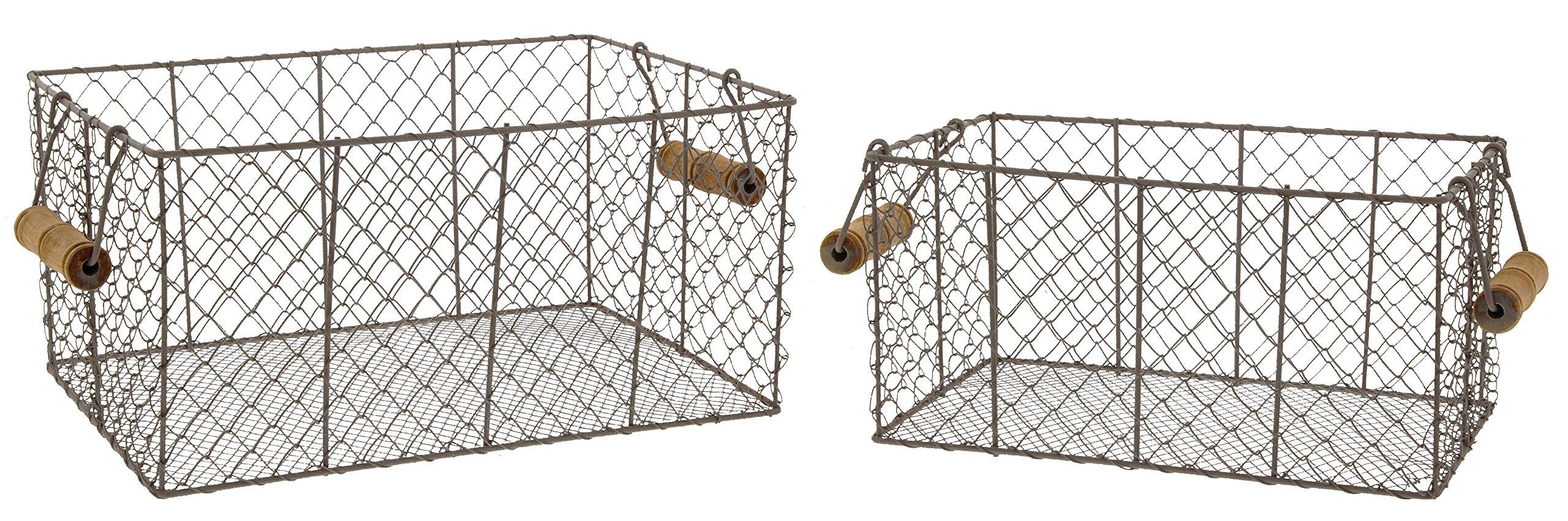 Park Hill Set of 2 Rectangular Metal Wire Baskets, 12'' & 14''