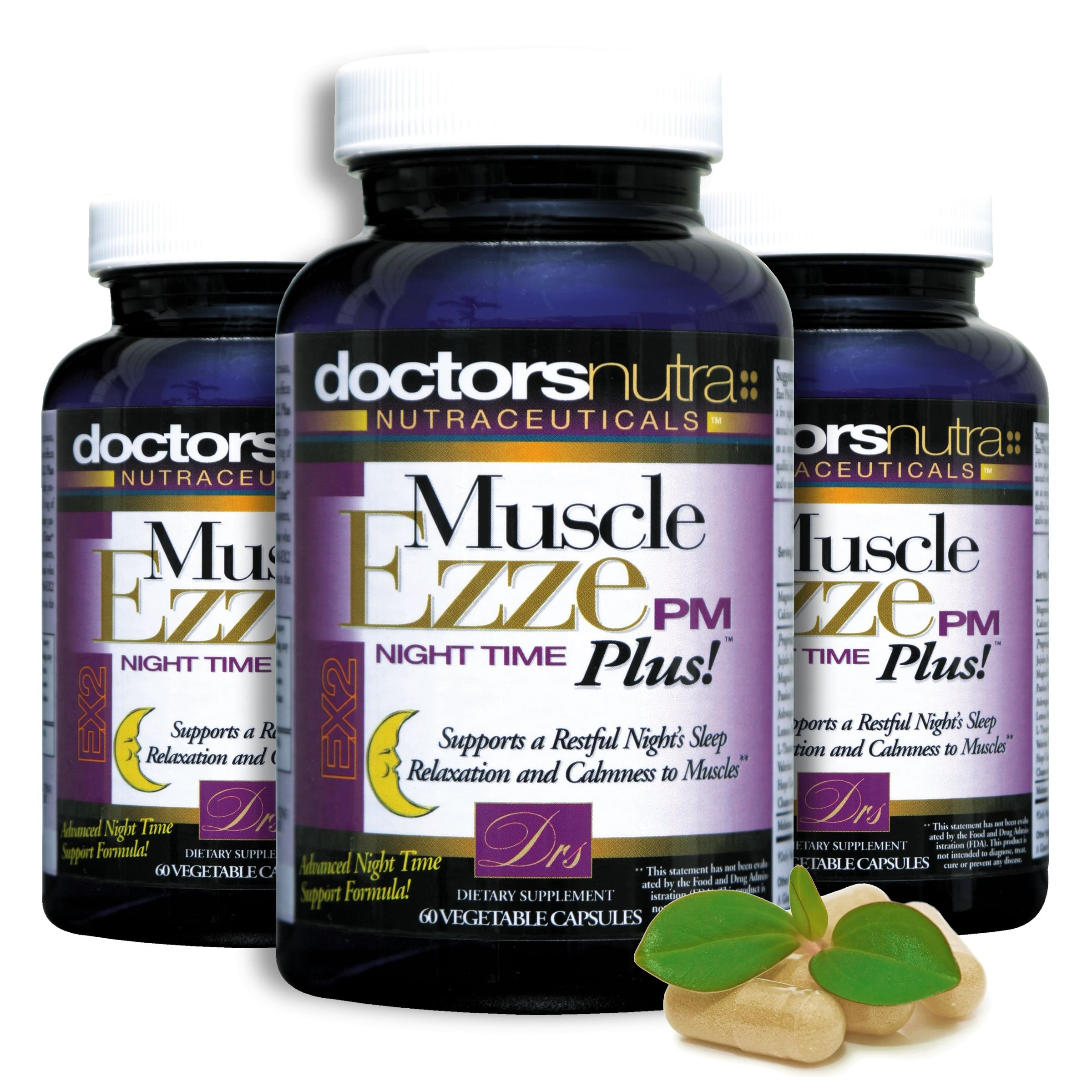 Natural Sleep Aid Muscle Ezze PM Plus Night Time Capsules (Pack of 3) Non