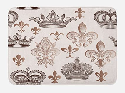 Lunarable Fleur De Lis Bath Mat, Crowns And Fleur De Lis Shapes In
