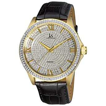 Joshua & Sons Mens Diamond Quartz Metal and Leather Dress Watch, Color:Black