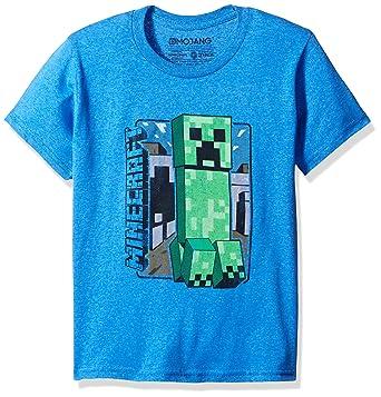 1923c612d JINX Minecraft Big Boys' Vintage Creeper Premium Cotton T-Shirt (Royal  Heather,