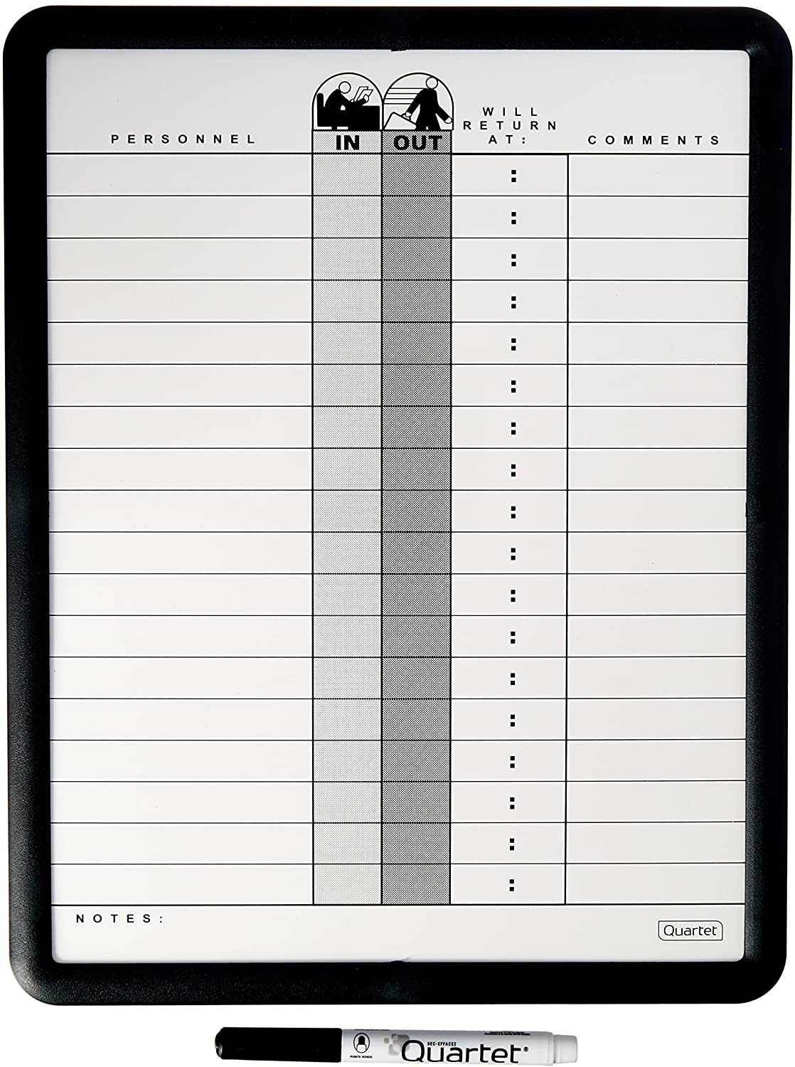"Quartet In/Out Board, 11"" x 14"", DuraMax Porcelain, In and Out Board, Classic Gray, Black Frame (750)"