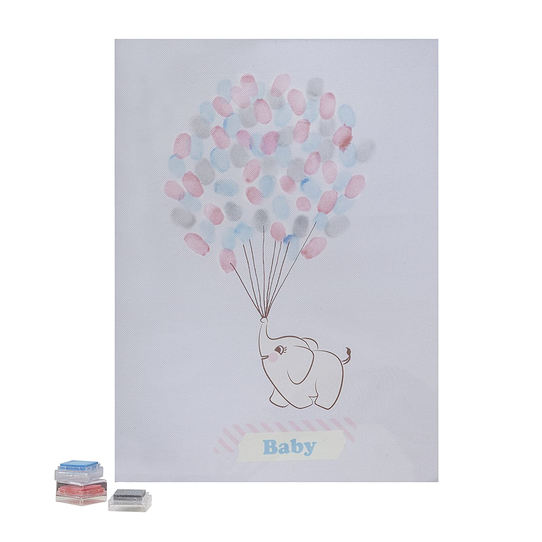Ginger Ray Baby Elephant Finger Print Keepsake Guestbook - Little One