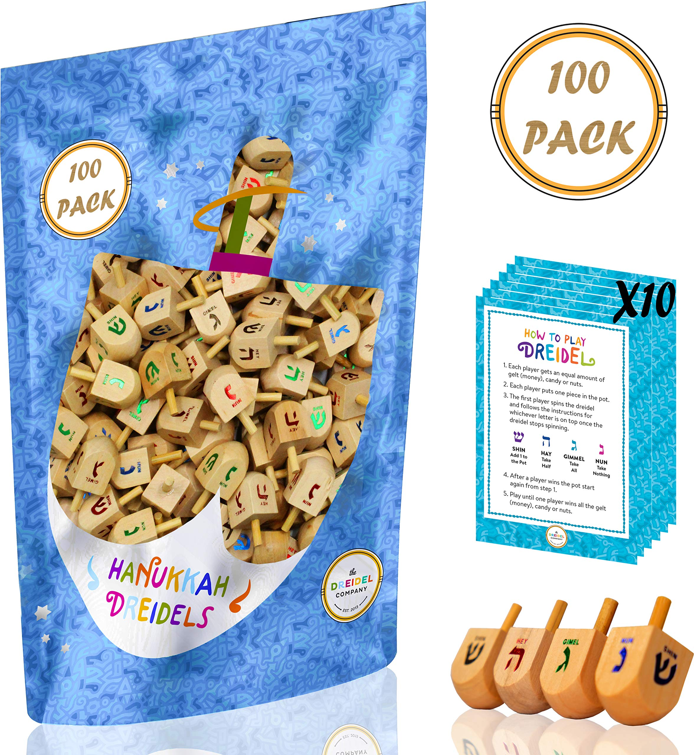Wood Dreidels 100 Bulk Medium Sized Hanukkah Draydel with English Transliteration - Includes 10 Game Instruction Cards! (100-Pack)