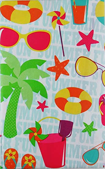 Summer Fun Beach Party With Zipper Umbrella Hole Vinyl Flannel Back  Tablecloth (70u0026quot; Round