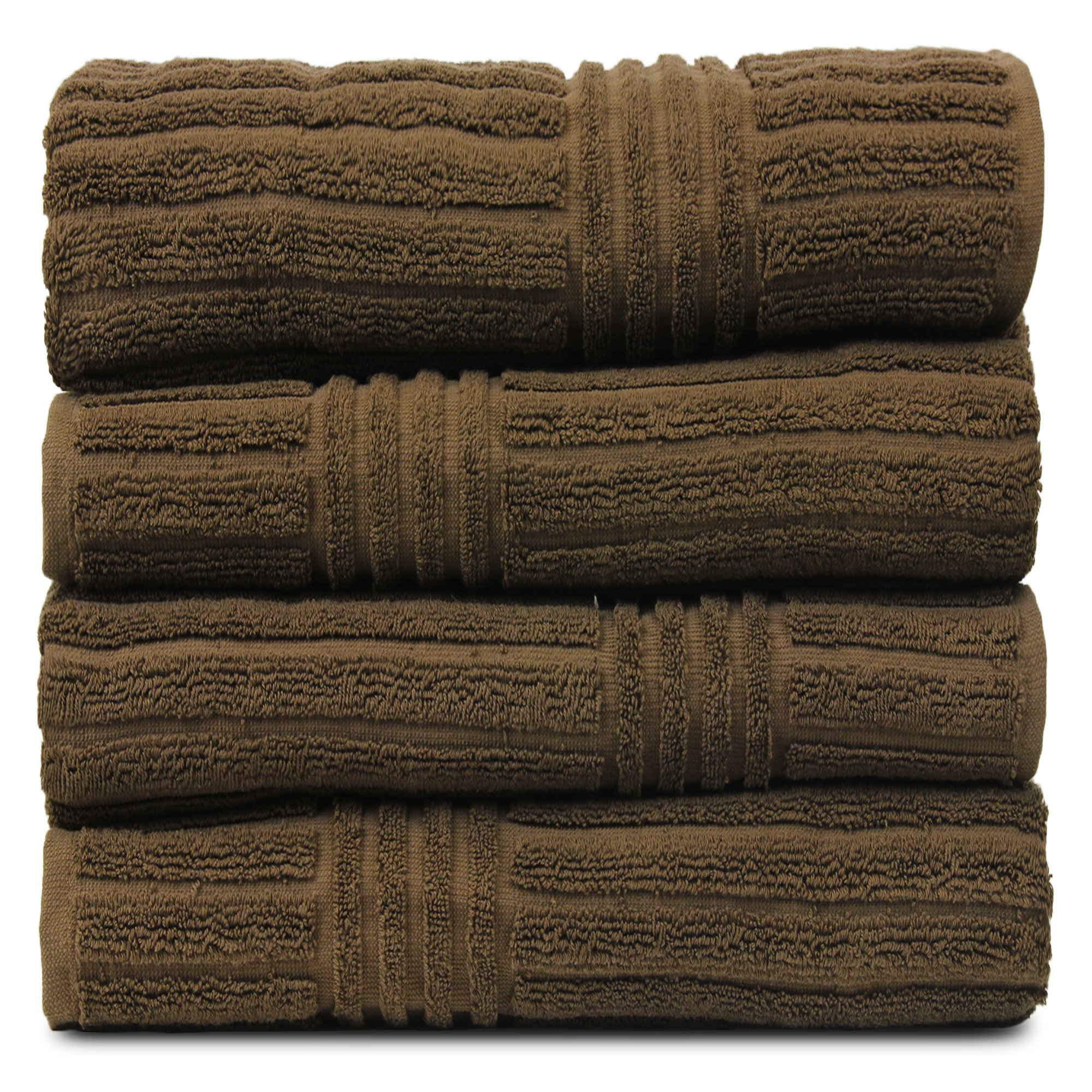 BC BARE COTTON Luxury Hotel & Spa Towel 100% Natural Turkish Cotton Ribbed Channel Pattern Bath (Set of 4), Cocoa