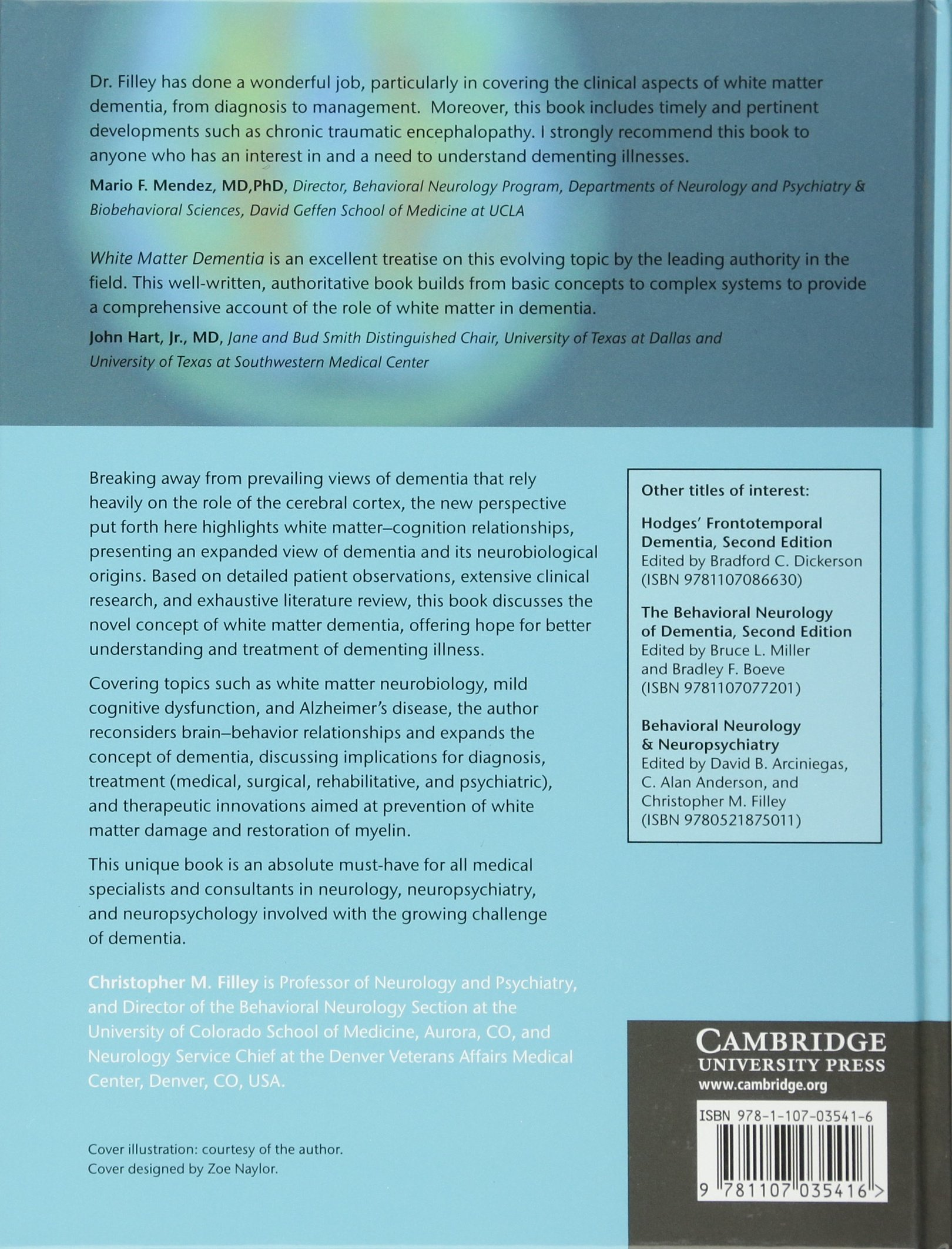 Cognition And Behavior White Matter >> White Matter Dementia Amazon Es Christopher M Filley