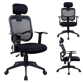 Drehstuhl ergonomisch  Bürostuhl in Schwarz Duhome 0391 Chefsessel Ergonomisch Netzstoff ...