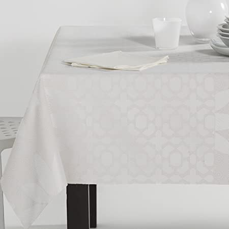 ESTELA - Mantel Jacquard Roses Color Crema - 140x200 cm. - Incluye servilletas - 50% Algodón / 50% Poliéster: Amazon.es: Hogar