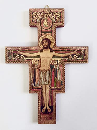 Desiderata Gallery Brand, San Damiano, St. Francis of Assisi Tau Crucifix Wall Cross Imported from Italy 9.75 High