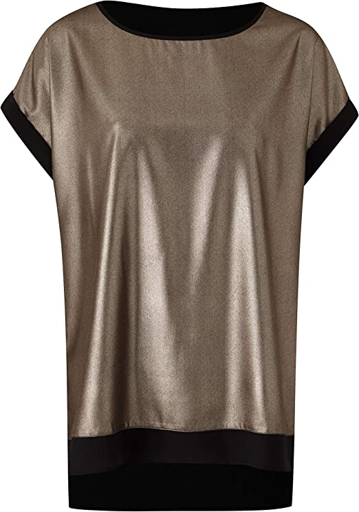Womens Foil Print Drop Sleeve Boxy Top