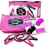 Pretty Pink and Tough Deluxe Jumper Cable Set - Pink Jumper Cables for Teen Girls and Women - 12-ft, Pink and Black Carry Pou