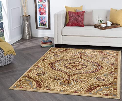 Tayse Yvonne Ivory 9×13 Rectangle Area Rug for Living, Bedroom, or Dining Room – Transitional, Paisley