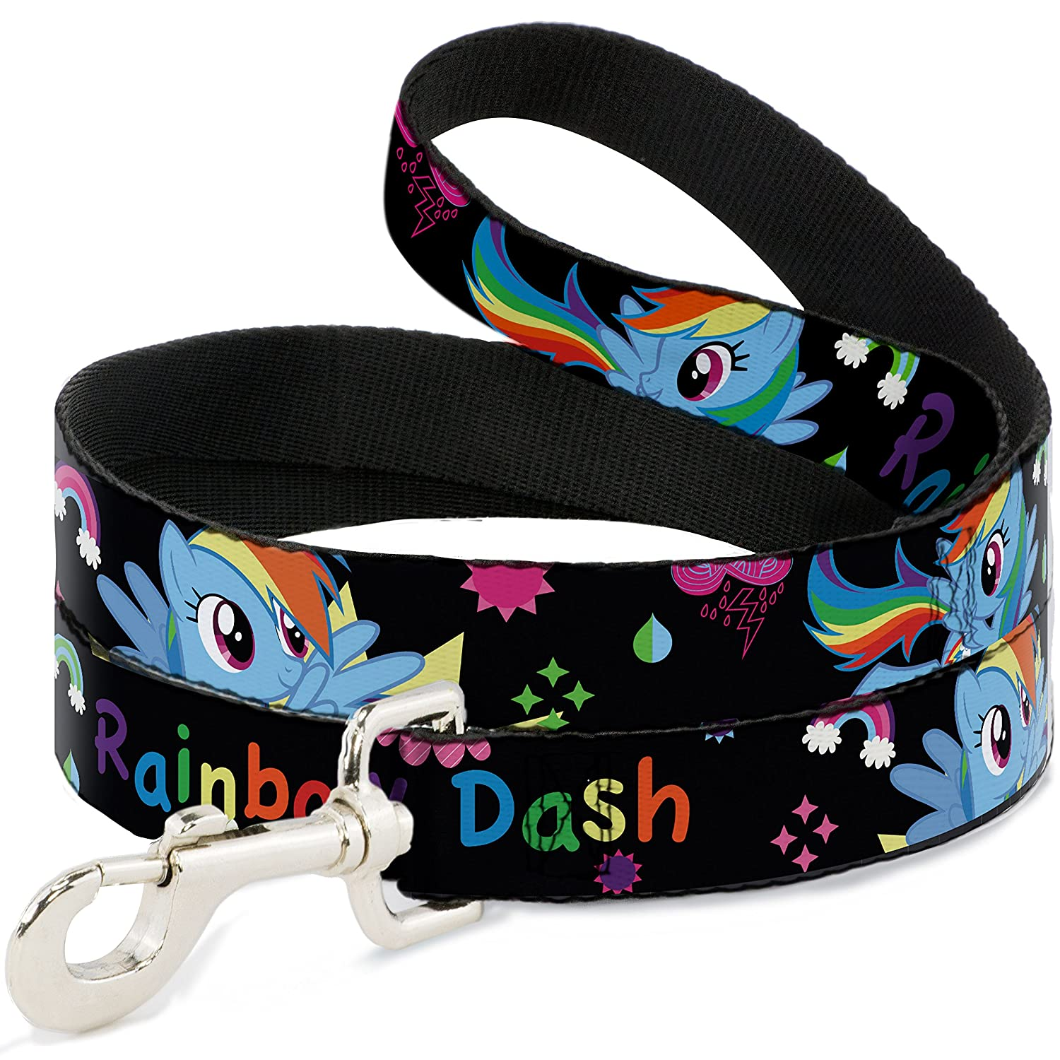 6Ft. Long  1.0 Inches wide Regular Buckle-Down Rainbow Dash with Face Close Up Black  Dog Leash, 6'