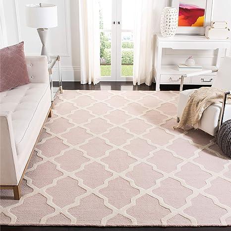Safavieh Cambridge Collection Cam121m Handmade Trellis Premium Wool Area Rug 8 X 10 Light Pink Ivory Furniture Decor