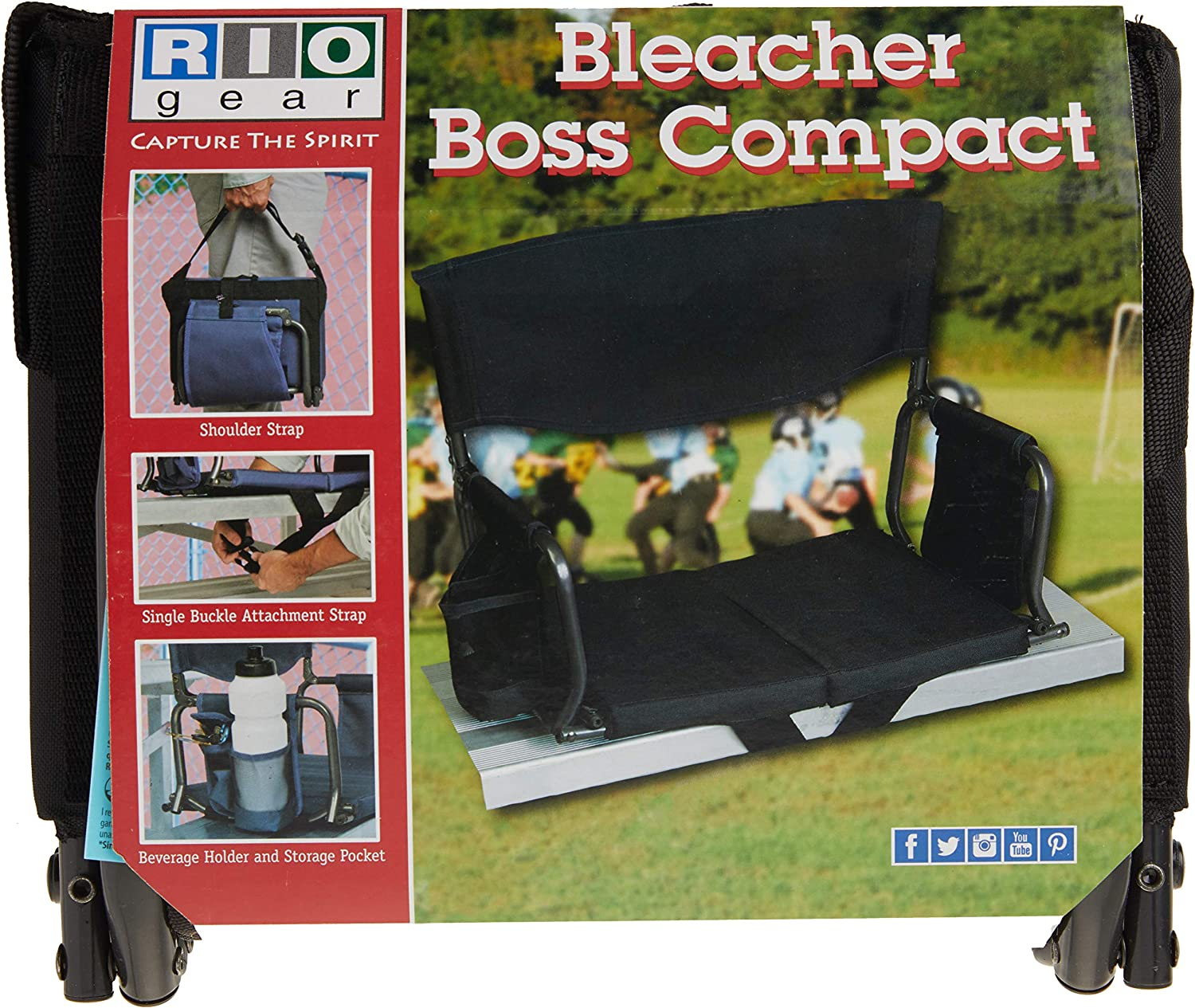 Rio Adventure Full Size Stadium Arm Chair Seat With Beverage Holder Carry Strap for sale online