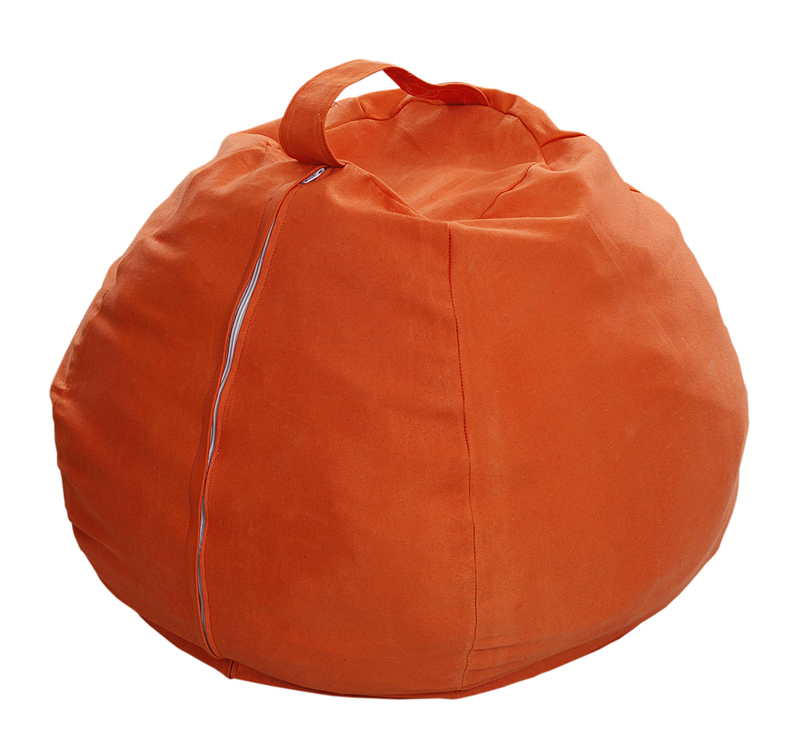 Anti Rip Canvas Orange Bean Bag Covers/Chair for Stuffed Toys Animals Storage Replace Mesh Toy Hammock Storage Bags Perfect Storage Solution for Pillows/Blankets Strong Zipper
