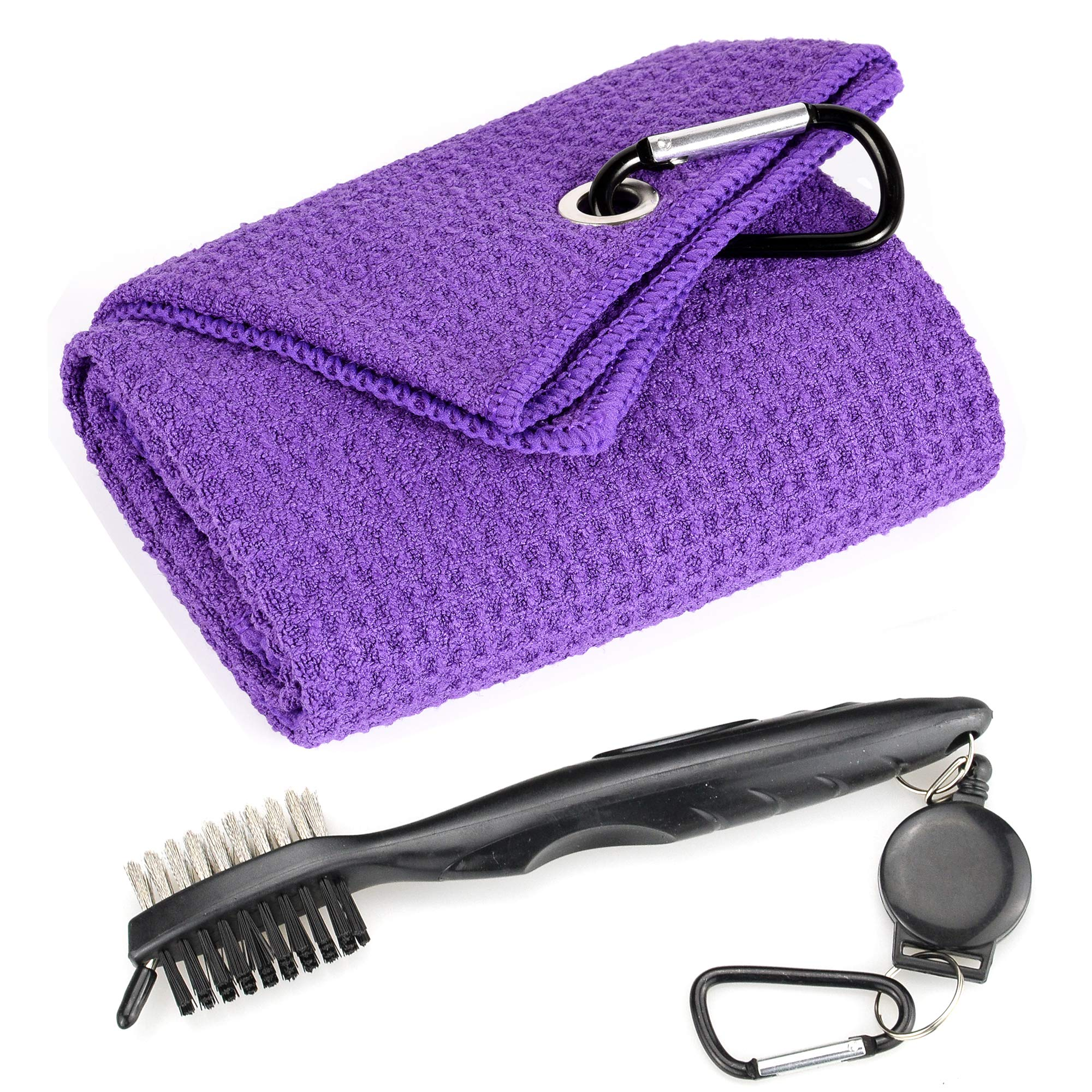 Mile High Life Microfiber Waffle Pattern Tri-fold Golf Towel | Brush Tool Kit with Club Groove Cleaner, Retractable Extension Cord and Clip (Purple Towel+Black Brush) by Mile High Life