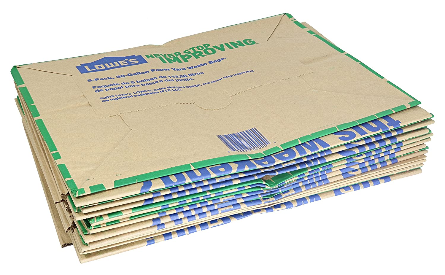 Lowes 30 Gallon Heavy Duty Brown Paper Lawn and Refuse Bags for Home and Garden (10 Count)