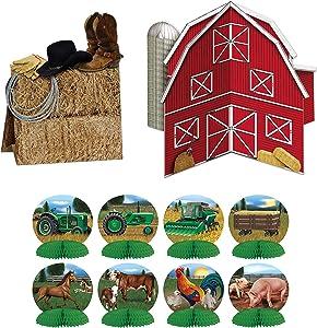 Farm Décor Bundle | Includes 3-D Barn Centerpiece, 3-D Western Centerpiece, and Mini Animal & Tractor Centerpieces
