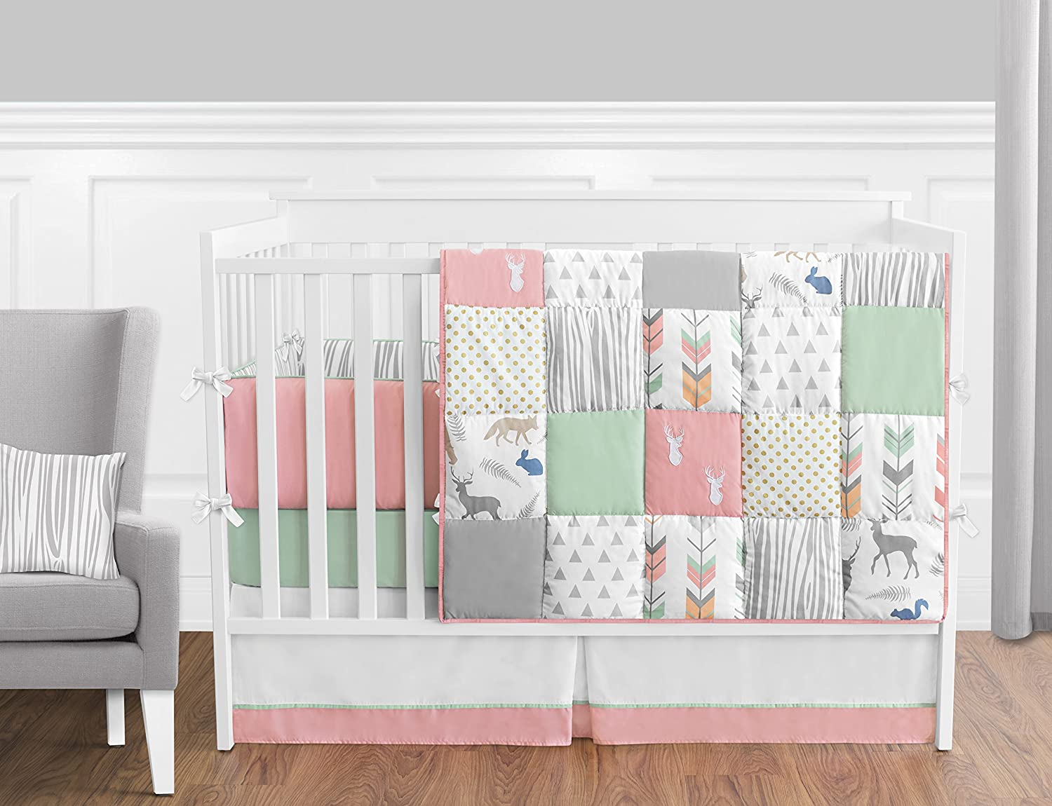 woodland silhouettes nursery crib quilts pink deer aqua bedding with gray girl in and heads a baby bed