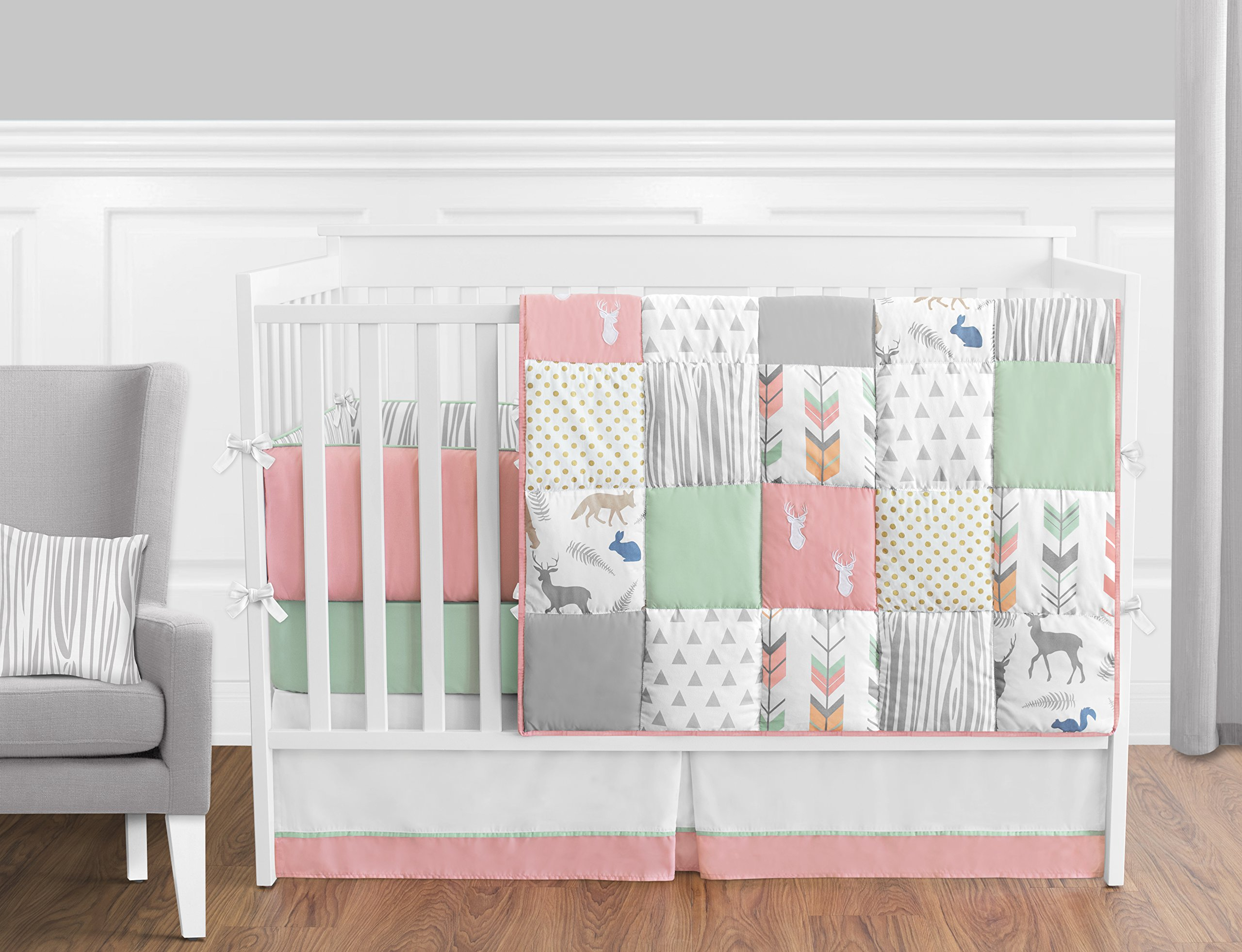 Sweet Jojo Designs 9-Piece Coral, Mint and Grey Woodsy Deer Girls Baby Bedding Crib Set with Bumper