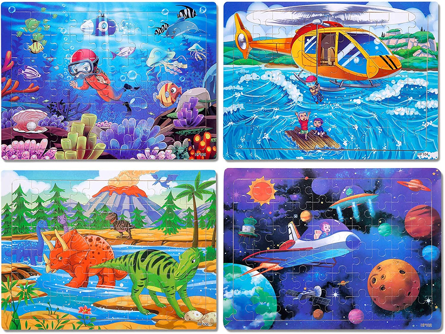 Puzzles for Kids Ages 4-8 Year Old 60 Piece Colorful Wooden Kids Puzzles Children Learning Educational Puzzles Toys for Boys and Girls (4 Puzzles)