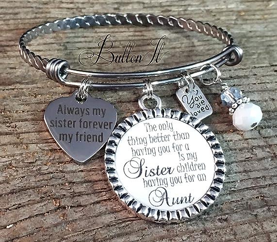 BANGLE bracelet, Sister gift, Aunt gift, Sister bracelet, SISTER jewelry,  Mother's Day gift, Big sister, sister birthday gift, charm bracelet, Gifts