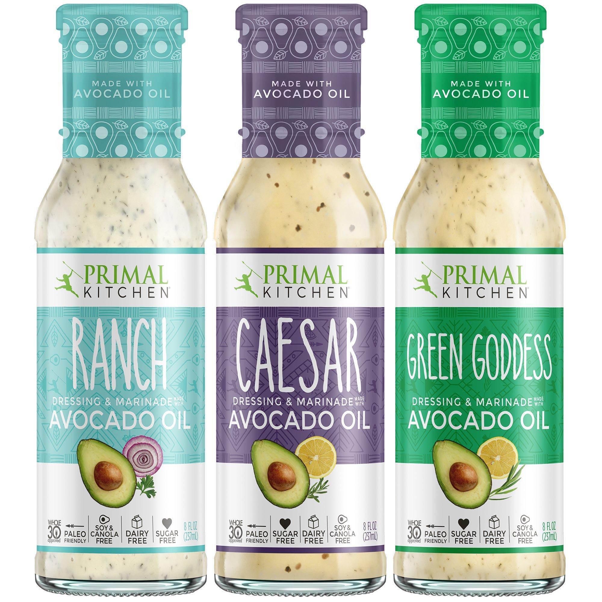 Primal Kitchen Whole 30 Avocado Oil Dressing & Marinade (Ranch, Caesar, Green Goddess) - 3 Pack