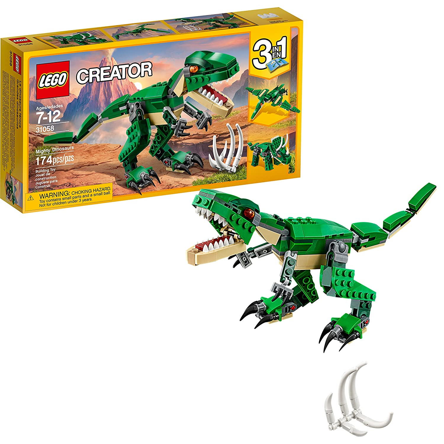 LEGO Creator Mighty Dinosaurs 31058 Build It Yourself Dinosaur Set, Create a Pterodactyl, Triceratops and T Rex Toy(174 Pieces)
